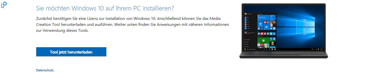 Microsoft Downloadseite für Windows 10